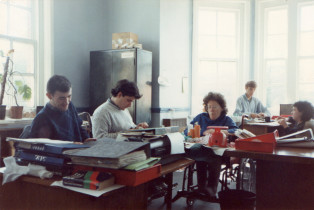Students working in an office