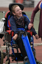 Disabled young person playing Boccia at Greenbank Sports Academy