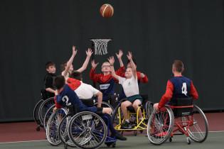 Merseyside Schoolchildren playing accessible Wheelchair Basketball