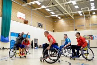 Inclusive Sport Development Foundation Degree Students playing Wheelchair Basketball