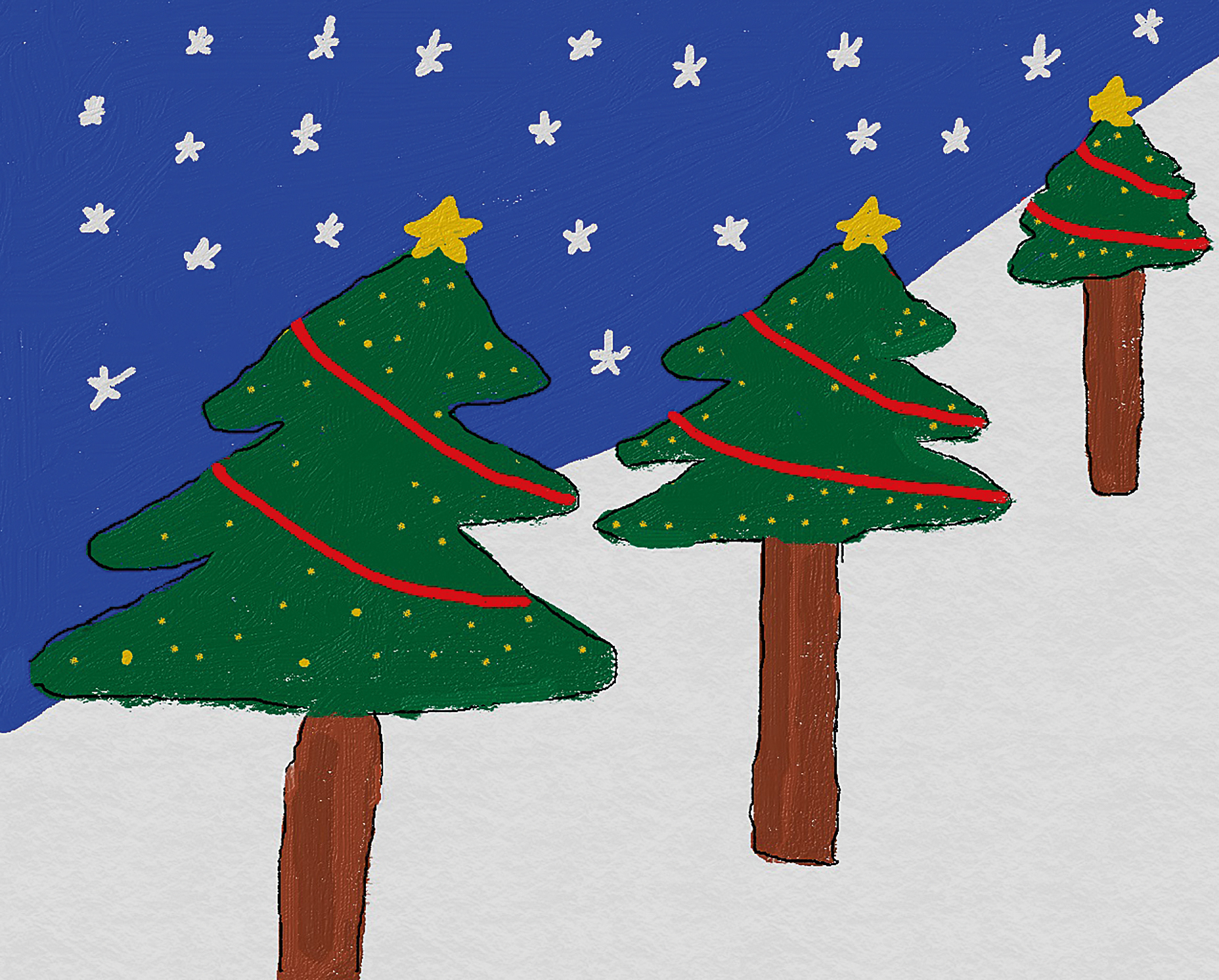 Three Christmas trees in perspective against a blue sky with stars