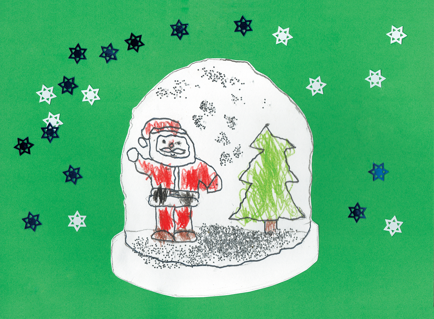 Father Christmas and Christmas Tree inside a glittery snowblobe set on a green background with blue ans siver stars